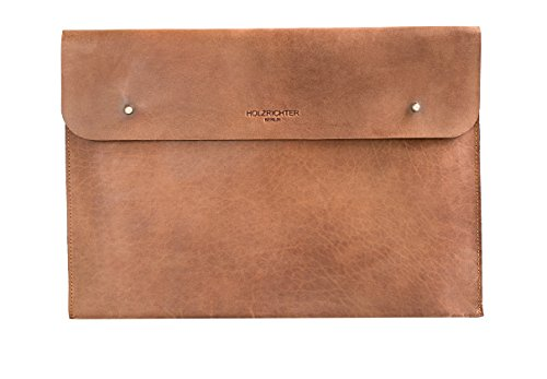 "HOLZRICHTER Berlin Laptop 13"" Sleeve - Premium Hülle aus Leder – Ledertasche für Notebook Apple MacBook Pro 13"