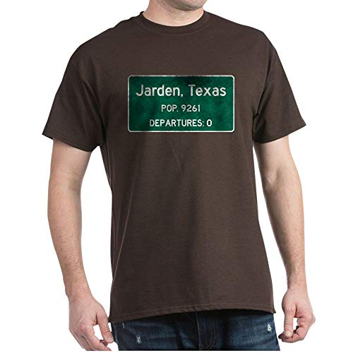 CafePress Jarden, Texas Road Sign T Shirt 100% Cotton T-Shirt Brown