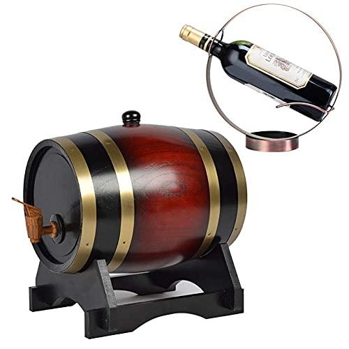 GAXQFEI Whi Barrel Regalos, Barril de Vino de Madera de Roble Vintage, Dispensador de Vinos de Mesa, para Cerveza Whi Port Keg Storage (C, 5L),C,5L