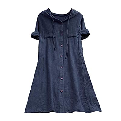 Aniywn Women Plus Size Cotton Linen Long/Short Sleeve Hoodie Casual Button Long T-Shirt Blouse with Pocket