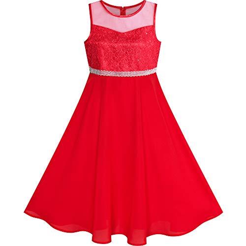 Sunny Fashion Robe Fille Rhinestone Mousseline de Soie Danse Robe de Bal Robe de Soirée Maxi Robe 10 Ans,10 ans,Rouge-Rouge