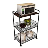 3-stufiges Mikrowellenständer-Lagerregal, Küchenregal Mikrowellenofen Bäckerregal mit 2 Drahtkörben zur Aufbewahrung Gemüse Obst Geschirr Gewürze, Holzplatte + Metallrahmen, schwarzer Organizer