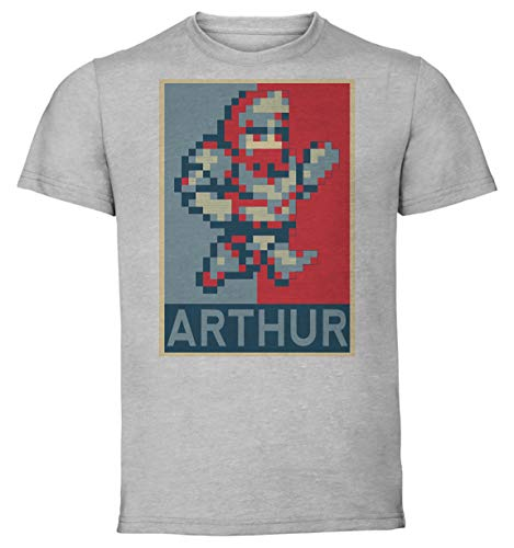 Instabuy T-Shirt Unisex - Color Gray - Propaganda - Pixel Art - Ghost 'n Goblins - Arthur Taglia Large