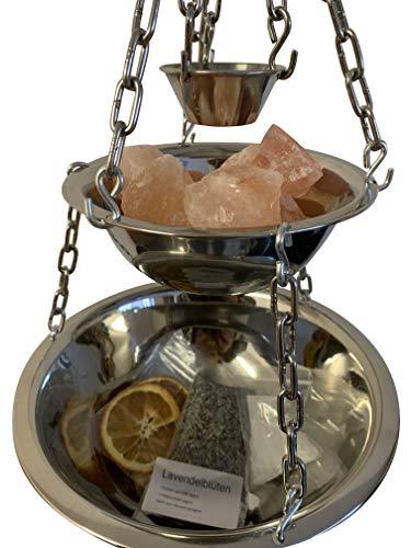 Sauna Zeremonie: Aromaschalen inkl. Verdampferschale aus Edelstahl - Passend für jeden Saunaofen - 3 Schalen für Aufguss, Mentholkristalle, Kristallsalz! Größe: Midi inkl. Zubehör, Muster: Mit Zubehör