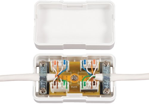 Allen Tel Products AT66CB-15 2 Ports, Double Sided Tape, Snap-On Cover Category 6 Connection Box, White