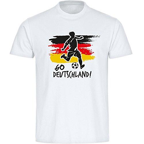 Multifanshop T-Shirt Go Deutschland Trikot Fanshirt Herren weiß Gr. S - 5XL - Fußball Weltmeister Germany Fanartikel WM 2018 Russland,Größe:XXXXL
