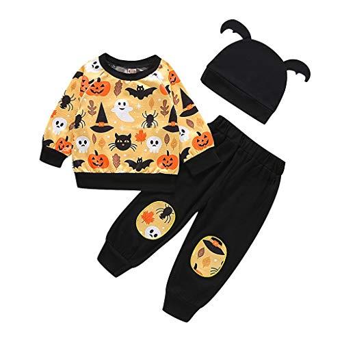 🎃 Romantic Halloween Kostüme Kinder 3tlg Baby Mädchen Jungen Bekleidungssets Kürbiskostüme Top T-Shirt + Spinnenabdruck Hosen + Hut mit Ohr Kinder Halloween Kostüme Set