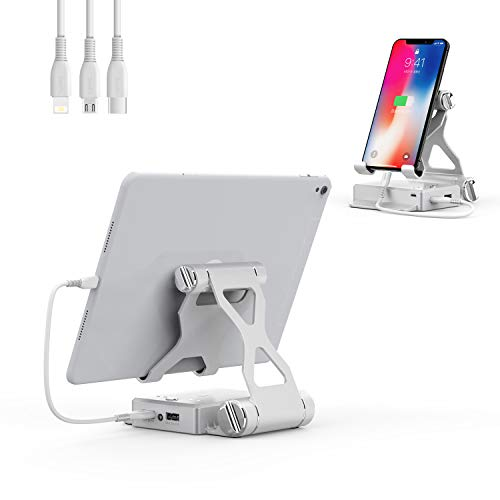 タブレットスタンド iPad充電スタンド,6000mAhパワーバンクを備えた安定性抜群 折り畳み式 高さ調整 角度調整可能 滑り止め付き 充電可能スタンド(4-13インチ)、iPad Pro 12.9 Mini Air Samsung Galaxy Kindle Fire Nintendo Switch Pad4-13インチタブレットと互換性があります