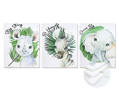 Pack 3 Tríptico cuadros con marco decorativos de lienzo impreso infantiles para decoración pared habitación dormitorio niños con bastidor de madera - 3 cuadros tamaño 40x50cm (Hojas Verdes)