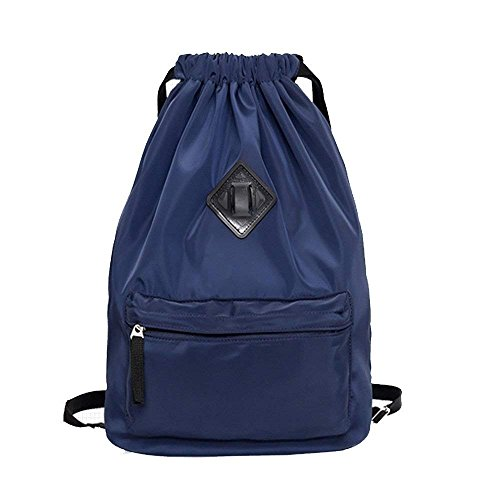 防水トラベルスポーツヨガジム巾着バックパックバッグトレーニングGymsackリュックサック学校旅行のために毎日サックパック (ブルー)