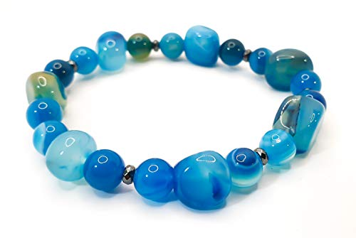 Pulsera elástica para hombre y mujer, con piedras preciosas naturales de 8 mm, para reiki, idea de regalo de cumpleaños, original difusor de energía para curar el equilibrio Agata Blu Quadri