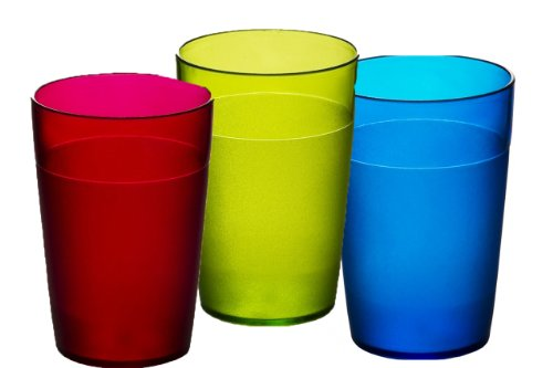 Virtually Glass Roltex Lot de 6 verres en polycarbonate incassable pour enfant Multicolore 10,4 x 7 cm 250 ml