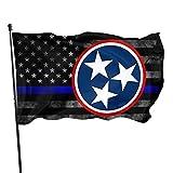 Eriesy Flagge Gartenflaggen Tennessee 3 Stars Thin Blue Line Flag Flag 3' X 5' Ft Outdoor Flags Banner Breeze Flag