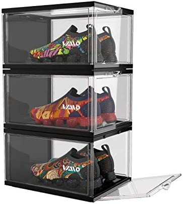 VIAIO Stackable Shoes Boxes Pack of 3 Drop Front Shoe Organizer with Clear and two sides for product image