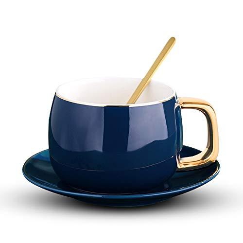 Juego de tazas de café y tazas de café de cerámica y tazas de café de viaje con plato de porcelana con cuchara (capacidad: 200 400 ml, color: azul)