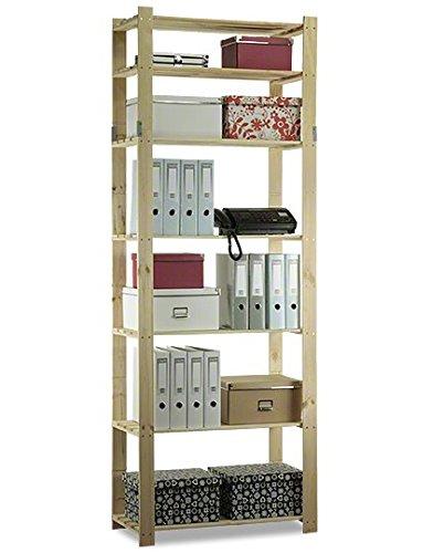 MODO24 Holzregal Keller- Lager- Bücher- Küchenregal Ständer H. 150-220 cm Serie B (B-30: HxBxT: 220x80x38 cm)