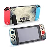 Human Skull on The Stone Against Spooky Sky Case for Nintendo Switch Enhanced Grip Rubberized Protective Cover Case