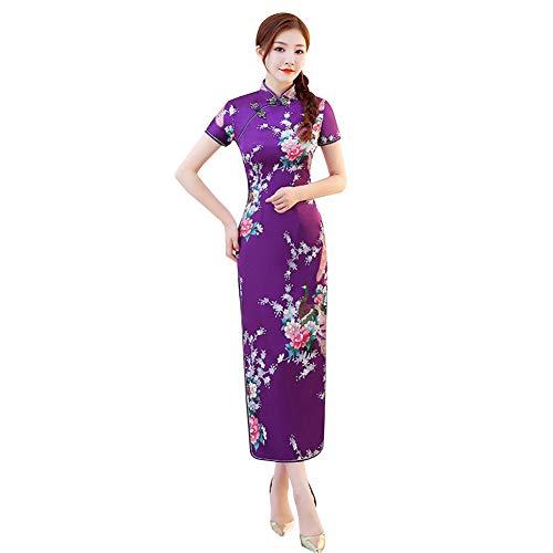 Xinvivion Vestito Cinese da Donna Cheongsam - Vestito Oversize Qipao Lungo da Sposa Retro Floreale Stampato Maniche Corte Cheongsam Qipao Vestito da Sera