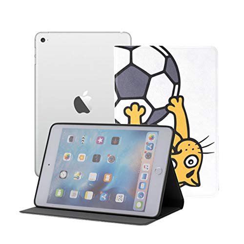 Ipad Mini 1 2 3 Case,slim Lightweight Stand Smart Back Case For Ipad Mini, Mini 2, Mini 3 With Auto Sleep/wake, Cute Orange Cat Playing Soccer Ball
