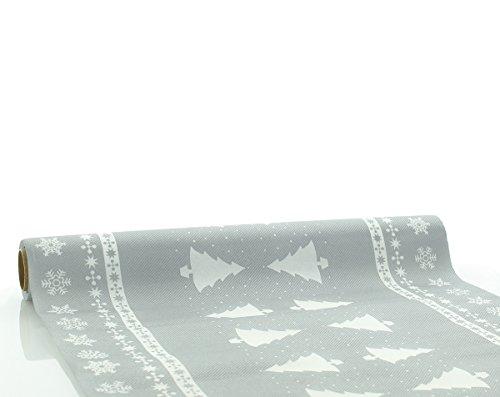 Sovie Home Tischläufer White Tree in Silber   Linclass® Airlaid   Weihnachten Christmas Einweg-Tischdecke   40cm x 4,80m