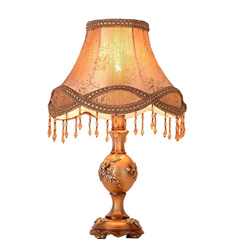 Dr.Sprayer Lámpara de Mesa Lámpara de Mesa de ara?a de Borla de Tela de Sombra marrón Retro de Estilo Europeo lámpara de Noche de Resina Verde lámpara de Cuerpo lámpara de iluminación