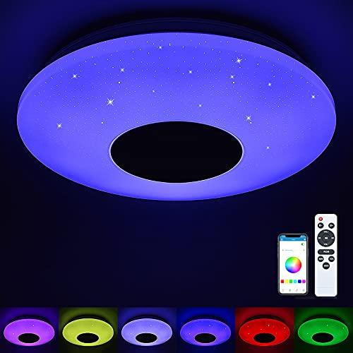 Deckenleuchte mit Bluetooth Lautsprecher LED Deckenlampe mit Fernbedienung und APP-Steuerung 32W Dimmbar Farbwechsel Musik Sternenhimmel für Schlafzimmer Kinderzimmer Wohnzimmer Küche (Stil 1)