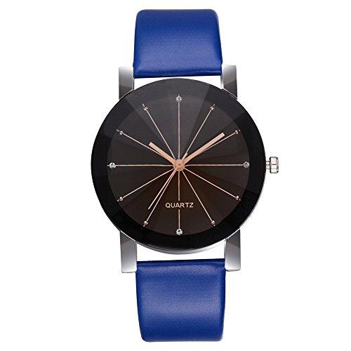 Armbanduhr Damen Ronamick Frauen Casual Quarz Lederband Newv Strap Watch Analoge Armbanduhr Armband Armbanduhr Uhr Uhren(A)