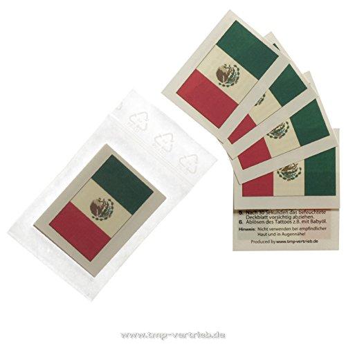 10 x Mexiko Tattoo Fan Fahnen Set - WM 2018 Mexico temporary tattoo Flag (10)