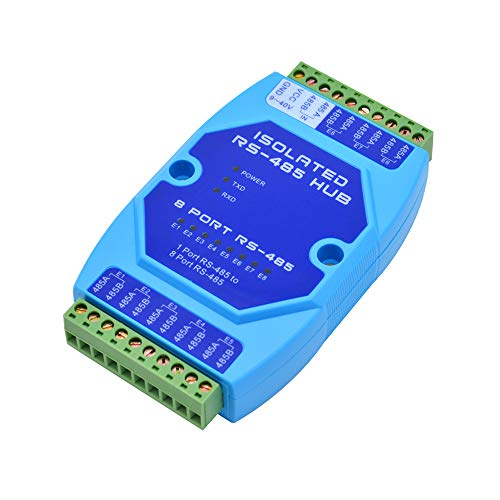 RS485 to 8 Ports RS485 Repeater Optical Isolator Industrial Grade, RS485 hub 8 in 1 Out Signal Amplifier Anti-Interference (RS485 to 8 Ports RS485)