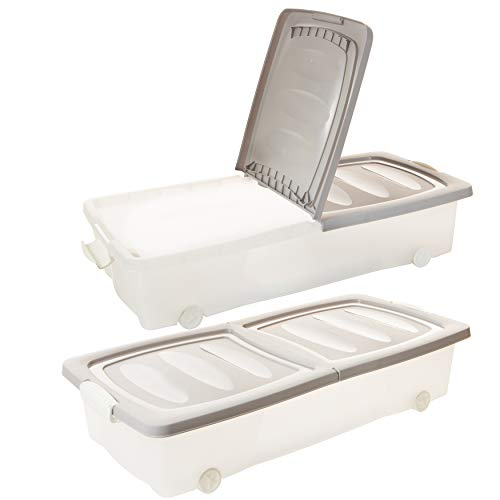 2friends Unterbettkommode Unterbettbox mit Rollen, 2 Stück, 80 x 40 x 17 cm (32 Liter), Deckel geteilt, mit Clip-Verschlüssen, transparent/Sand, Made in EU