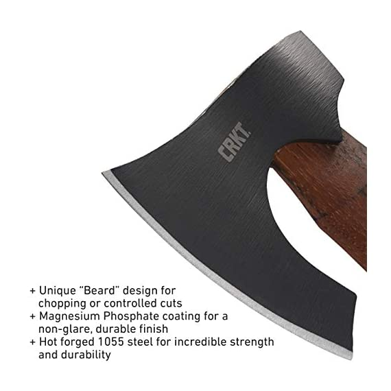 Crkt freyr axe: outdoor axe with deep beard design, forged carbon steel blade, and hickory wooden handle 2746 4 forged tough: 1055 carbon steel provides durability and edge retention more than chop: beard on axe head tackles many useful cutting tasks durable: tennessee hickory is a dense material that withstands hard use