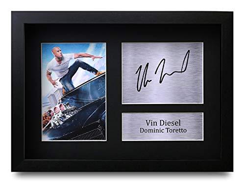 HWC Trading Vin Diesel Dominic Toretto A4 Gerahmte Signiert Gedruckt Autogramme Bild Druck-Fotoanzeige Geschenk Für Fast & Furious Filmfans