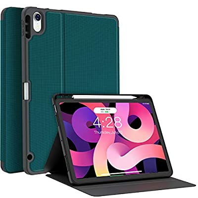 Soke Case for New iPad Air 4th Generation, 10.9 Inch 2020, Folio Stand with Pen Holder, Slim TPU Protective Cover Support Auto Sleep/Wake Function, Teal