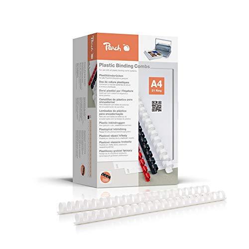 Peach PB420, spirali perrilegatura, 20mm, formato A4, confezione da 100pezzi, colore: bianco