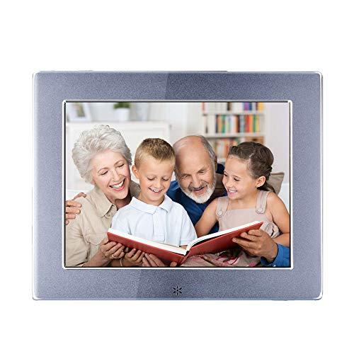 RENYAYA High-Resolution 8-inch metalen digitale fotolijst, IPS1024*768 (4:3) groot lettertype helderheid automatisch aanpassen 180 graden dubbelzijdig scherm MP3-videospeler, zilver