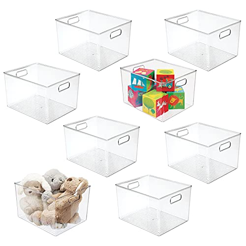 """mDesign Deep Plastic Home Storage Organizer Bin for Cube Furniture Shelving in Office, Entryway, Closet, Cabinet, Bedroom, Laundry Room, Nursery, Kids Toy Room - 12"""" x 10"""" x 8"""" - 8 Pack - Clear"""