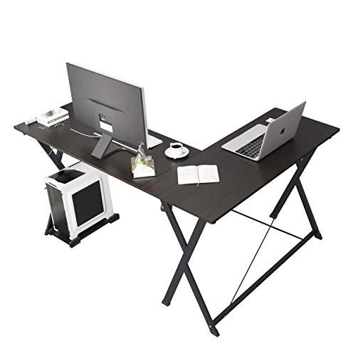 SogesHome L-förmiger Computertisch Großer Eckschreibtisch Tisch Schreibtisch Computertischstation für Heim und Büro, WK-ZJ1-BK-SH