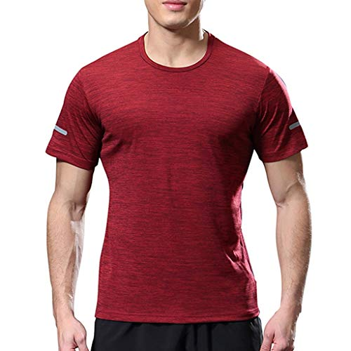 Fashion Men's Sport Shirt UORSA Short Sleeve Round Neck Comfortable Casual Slim Top Blouse 2019 Red