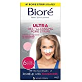 Bioré Witch Hazel Ultra Cleansing Pore Strips, 6 Nose Strips, Clears Pores up to 2x More than Original Pore Strips, features C-Bond Technology, Oil-Free, Non-Comedogenic Use (Packaging May Vary)