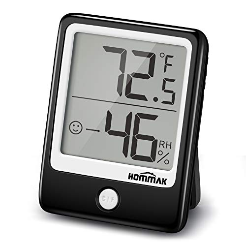 Hommak Indoor Thermometer Hygrometer Humidity Gauge, 2 Inch Mini Size Display, Air Comfort Indicator, Temperature Monitor with Humidity Trendline for Room, Home, Office, Garage, Warehouse, Black