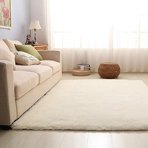 GGFHH tapijt, zacht interieur, modern shaggy carpet Silky Fluffy, anti-slip vacht tapijt voor slaapkamer, woonkamer, kinderdecoratie in de vloer, woonkamer, grijs, 160 x 200 cm