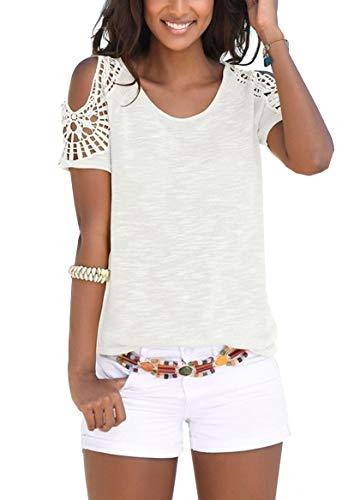 Flying Rabbit Damen Kurzarm T-Shirt Basic Sommer Shirt Rundhals Spitze Hohl Einfarbig Casual Lose Top Bluse (Medium, White)