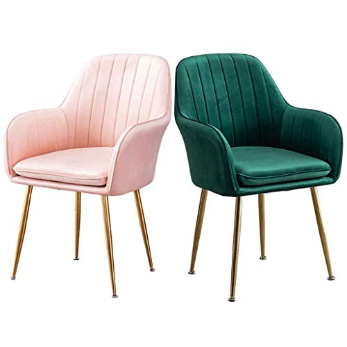MNBV Silla de Comedor Decorativa tapizada, Juego de 2 sillas de Maquillaje, Silla con cojín de Tela de Franela, Silla de Comedor de Cocina, sillones, sofá, Silla (Color: A)