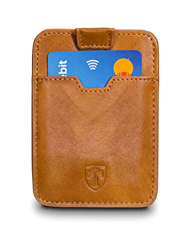 TRAVANDO ® Portafogli sottili Portafoglio DALLAS RFID Protezione 12 Carte Mini Portafoglio Uomini Carta Piccolo Portafoglio Carta Soldi Clip Custodia Uomini Portafoglio (Marrone)