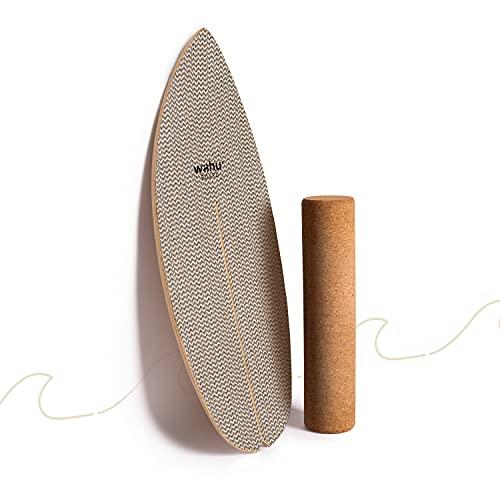 WAHU- Balanceboard (Day and Night Twill) - Trickboard mit einzigartigem Rocker Shape inkl. Rolle - Balance Trainer (100% Holz) - Indoor Balance Board - Wackelbrett für Kinder & Erwachsene