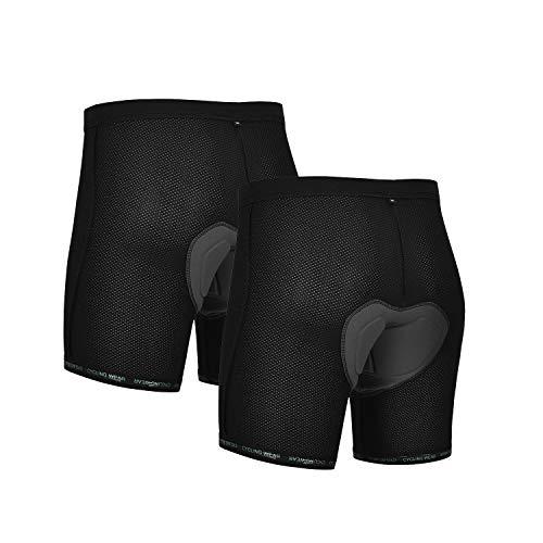 DEALYORK 2Pack Men Cycling Underwear 3D Padded Bike Shorts MTB Liner Shorts Bike Shorts Men High Waist Ergonomic Design Black L