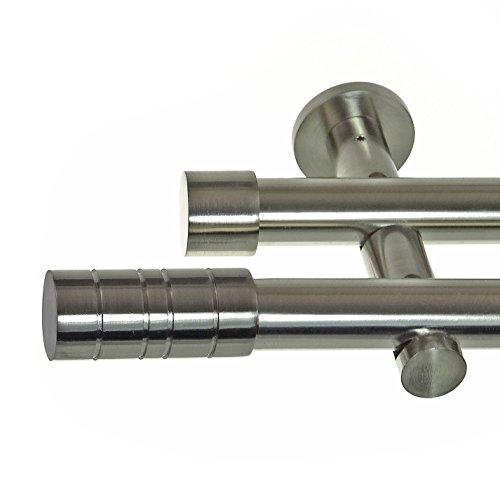 BASIT Edelstahl Look Gardinenstange Ø 20mm Wandträger 2-läufig zweiläufig Wandbefestigung Zylinder H41 E34E30 RR, Länge:200 cm