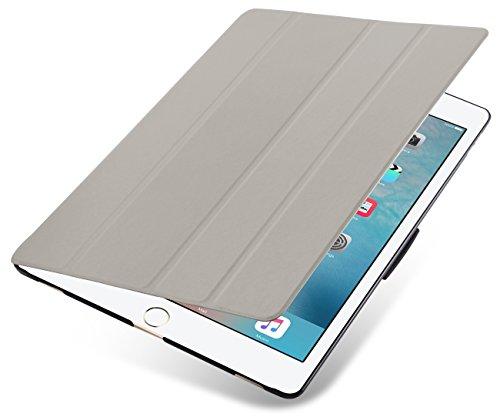 JAMMYLIZARD VEO   Flip Cover Custodia Smart Case 3 Pieghe in Poliuretano e Microfibra per iPad PRO 12.9 Pollici (2015), Grigio