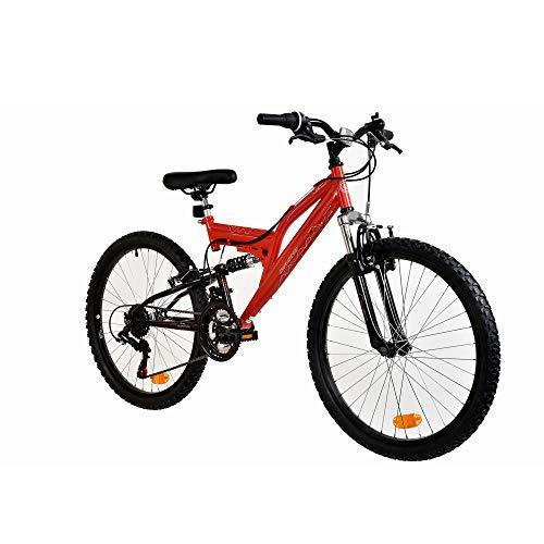Galano FS180 24 Zoll Mountainbike Full Suspension Jugendfahrrad Fully MTB Kinder ab 8 Jahre Fahrrad (rot, 37 cm)