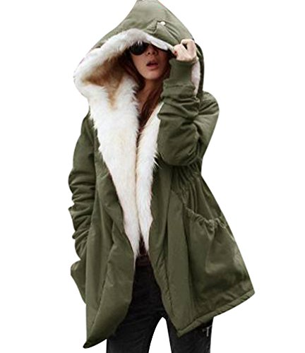 ISSHE Parkas con Capucha Pelo Sintetico Abrigos Largos Mujer Anorak Acolchado Largas Chaquetas, Abrigo para Dama